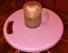 Marshmellow Times - with Milo (ShambLady in Throwback times, uploading older pics) Tags: hot chocolate marshmellows sweet rainbow colours pink stool foldable kruk rose rosa malaysia 2012 penang eden batu ferringhi pinktober breast cancer awareness