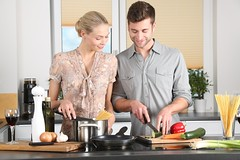 Adult blond board kitchen - Credit to https://homegets.com/ (davidstewartgets) Tags: adult blond board brunette cook cooking couple dinner enjoyment family happy indoors ingredients kitchen kitchenware knife man noodles pair people preparation pretty room stove togetherness vegetables wine woman