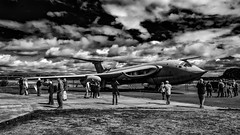 To the Victor, the spoils. (michaeljoakes) Tags: victor elvington yorkshireairmuseum yorkshire xf1855mmf284rlmois fujifilmxt1 aircraft military aviation handleypage bomber vbomber handleypagevictor yam refuel fujifilm k2 lustylindy xl231 people mono monochrome blackandwhite bnw clouds sky contrast