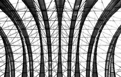 ......the railstation...... (christikren) Tags: blackwhite christikren linescurves monochrome noiretblanc panasonic perspective sw travel tourismus crossraildlrstation london crossrail station roof design canarywharf lines geometry construction town leica mono sirnormanfoster british structures abstract symmetry