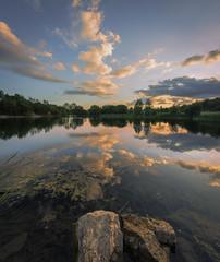 Lake Reflect (snomanda) Tags: lake standing water reflection sunrise sunset dusk twilight waterscape cloud clouds sunlight rocks trees horizon perspective tranquil serene blue blues direction pond ponder fishing