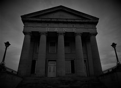 foreclosed.... (BillsExplorations) Tags: shawneetown old bank nationalregisterofhistoricplaces historic foreclosed closed restoration ohioriver illinois flood oldshawneetown gallatincounty blackandwhite monochrome lincoln saltmining architecture chicago chicagofire