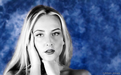 Marta Piastowska (Allan Jones Photographer) Tags: martapiastowski model mono portrait female face selectivecolour photoshop arty artistic monochrome bw blackandwhite allanjonesphotographer canon5div beauty pretty blonde stunning