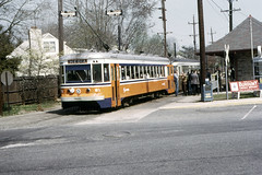 US PA Philadelphia SEPTA-PSTC Red Arrow 81 4-21-1974 (David Pirmann) Tags: pa pennsylvania philadelphia septa redarrow pstc philadelphiasuburbantransco interurban train trolley tram transit railroad