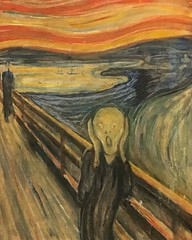 """The Scream (Norwegian: #Skrik) is the popular name given to multiple versions of a composition by Norwegian Expressionist artist Edvard #Munch between 1893 and 1910. The German title Munch gave these works is Der Schrei der Natur (The #Scream of #Nature). (""""guerrilla"""" strategy) Tags: ifttt instagram the scream norwegian skrik is popular name given multiple versions composition by expressionist artist edvard munch between 1893 1910 german title gave these works der schrei natur nature show figure with an agonized expression against landscape tumultuous orange sky arthur lubow has described aniconofmodernartamonalisaforourtime   art oslo norway expressionism travel worldcommuter"""