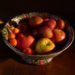 Last Days of August (ScaryLily) Tags: apples gift plums evening sunshine crabapples bounty autumnonitsway bowl kitchen suffolk home hearth heart chapel