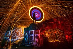 Light It Up Girl (vanessa_macdonald) Tags: steelwool urbex night photography firespinning steelwoolspinning spunups spin graffiti longexposure colourful vivid lightart lightpainting lpwa awesome fire sparks rainingfire creative nightphotography