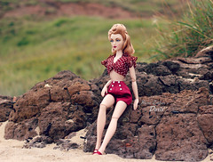 Temperature (pure_embers) Tags: pure embers doll dolls uk pureembers photography laura england gene marshall hibiscus stepping high embersdoris doris portrait 40s 50s style classic elegant fashion melodom collector vintage rockabilly pinup summer shorts set red polkadot beach sand rocks