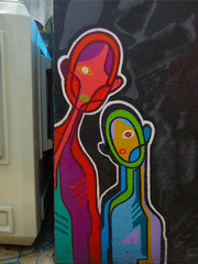 We Come in Peace and in Colour (Steve Taylor (Photography)) Tags: alien graffiti mural streetart people london camden england uk gb greatbritain shape outline