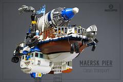 "Maersk Pier Cargo Transport (Markus ""madstopper78"" Ronge) Tags: steampunk legosteampunk steampunklego fullsteamlego netbrix afol moc lego airship blimp toyphotography toyphoto legopotsdam legophotography legofan"
