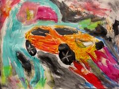 Metallic Orange Dream (giveawayboy) Tags: pencil crayon eraser water acrylic paint painting drawing sketch fch tampa artist giveawayboy metallic orange dream elf elves gnomes car billrogers