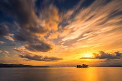 sunset 6395 (junjiaoyama) Tags: japan sunset sky light cloud weather landscape yellow orange contrast color bright lake island water nature autumn fall calm dusk serene reflection