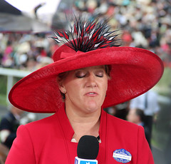 Clare Balding, TV sports commentator, at Royal Ascot (iwys) Tags: balding royal ascot racing red hat clare tv television sports itv c4 microphone portrait channel 4 celebrity eyelids eyes closed