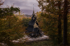 The old stave church (Siggi007) Tags: church old wood wodden trees tree autumn fall season leaves building rebuilt religion sky evening painting painterly artistic norway norwegen noruega wald tourism outdoor dawn farben history historique landscape landschaft canoneos6d colors colour clouds colores view beautiful bergen nature norge naturaleza mood fence
