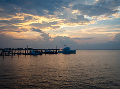Sunset with boats and dock (iMatthew) Tags: fireisland fireislandny fairharbor fairharborfireisland sunset dock boats twilight newyork