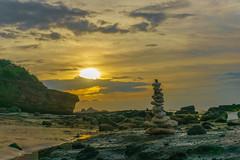 Rock balancing. (Hoang Chien) Tags: beach rock balancing vietnam lyson island mountain yellow water sand sky twighlight daybreak horizontal sea sunset ocean summer light seascape beautiful