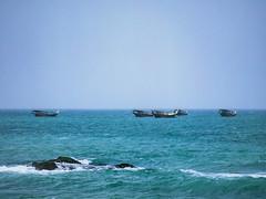 Mirbat Dhows (Packing-Light) Tags: 120 6x45 mamiya6451000s analog film mediumformat kodak portra160 negative c41 reversal salalah oman middleeast mirbat entropy boats dhow fishing ocean sea waves