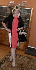 pink/tan/wht/blk color block dress (krislagreen) Tags: tg transgender transvestite tv tgirl cd crossdress xdresser dress hose patentpumps opentoepumps slingbackpumps feminized femme feminzation