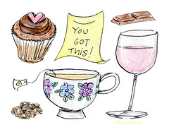 Fighting the monday blues... (Cindy Mangomini) Tags: cindymangomini mangomini illustration drawing yougotthis tea cupcake rosewine chocolate mondayblues mondays foodillustration cutefooddrawing
