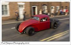 Half a VW Beetle (Paul Simpson Photography) Tags: vw volkswagen beetle bartonuponhumber sonya77 paulsimpsonphotography bartonbikenight2018 july2018 panning customcar car transport hotrod red redcar northlincolnshire carshow