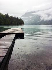 Lake Bohinj in a rainy day (Blacklili) Tags: lakebohinj slovenia mountains nature slovenija water rain clouds sky trees dock cielo paisaje bosque agua montaña lago bote