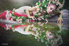 "TEATRONATURA ""The river Nymph"" (valeriafoglia) Tags: model makeup nature nymph river romantic stone flowers pink white art atmosphere amazing fantasy fairy beautiful beauty creative composition capture colors creature photography photo pretty reflection mirror"
