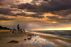 Aspettami vado...... (Zz manipulation) Tags: art ambrosioni zzmanipulation tramonto rosso spiaggia sea mare attesa bicicletta sabbia cielo