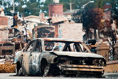 Burned Car and Burned Homes, San Bruno Gas Line Explosion, 2010 (Thomas Hawk) Tags: california pge sanbruno southbay usa unitedstates unitedstatesofamerica auto automobile car disaster explosion fire firedamage fireplace gasline gaslineexplosion fav10 fav25