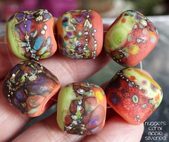 Nuggets Coral Apple Silvered (Laura Blanck Openstudio) Tags: openstudio openstudiobeads glass handmade lampwork murano beads set made usa fine arts jewelry art artist artisan whimsical funky odd colorful multicolor abstract asymmetric earthy organic bohemian boho matte opaque frosted gypsy etched glow glowing nuggets rounds donuts sterling silver silvered green lime pea chartreuse kiwi yellow ocher coral orange blush amber sienna brick brown aqua purple violet grape lilac lavender plum eggplant maroon