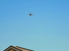 Helicopter Above The Roof. (dccradio) Tags: lumberton nc northcarolina robesoncounty outside outdoor outdoors sky bluesky helicopter chopper flight aviation transportation flying overhead roof building apartment apartmentbuilding wednesday morning goodmorning september earlyfall earlyautumn latesummer action motion fly nikon coolpix l340 bridgecamera