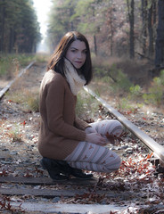 On the Tracks (marielochphotography) Tags: girl tracks leaves brown fall autumn portrait