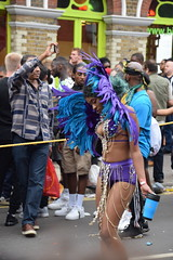DSC_8384 Notting Hill Caribbean Carnival London Exotic Colourful Blue and Purple Costume with Ostrich Feather Headdress Girls Dancing Showgirl Performers Aug 27 2018 Stunning Ladies (photographer695) Tags: notting hill caribbean carnival london exotic colourful costume girls dancing showgirl performers aug 27 2018 stunning ladies blue purple with ostrich feather headdress
