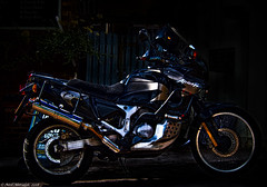 Urban Icon (Neil. Moralee) Tags: neilmoralee honda xrv750 africa twin motorcycle bike biker colour efex effect style art neil moralee olympus omd em5 still life fun paris dakar old mature urban icon street rider hard contrast unstopable culmstock devon uk color
