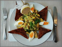 Kedgeree (Jason 87030) Tags: haddock flakes fish cooked brekkie breakfast plate knife fork table morning meal rice curry flavour tast filling lovely nice yum toast butter grains parsley hers bread eggs bing boiled huawei shot shooy bedandbreakfast bb manser iow island isleofwight yellow served serving day