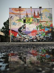 Reflection of street art in Pabianice (roomman) Tags: 2018 pabianice town village city street art paint painting design industry industrial weekend escape culture history past story lost place lostplace cities towns textile factory