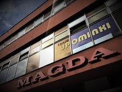 Magda (roomman) Tags: 2018 lodz poland industry culture history past story lost place lostplace industrial town city cities towns textile factory upominki tanie magda name girl woman ad advertisement house facade wall sign text