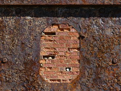 Bricked up iron shield (Charos Pix) Tags: brick brickwork iron shield fort fortress hurstcastle artilleryfort hurstspit rust