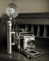 Graflex Crown Graphic 45 (Howard Sandler (film photos)) Tags: camera largeformat graflex crowngraphic pacemaker flashbulb tiltamite cameraporn sepia blackandwhite monochrome presscamera