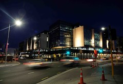 The new Christchurch by night (Maureen Pierre) Tags: christchurch newzealand night corner building streetscape rebuild earthquake
