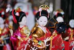 Ningyo Matsuri (Jetcraftsofa) Tags: nikonf3 micronikkor5528 sb17speedlight kodak ektar100 35mm slr filmphotography matsuri ningyo bokeh maiko dolls figurines festival summer natsu
