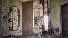save yourself...(HWW) (BillsExplorations) Tags: abandoned decay ruraldecay windowwednesday window door graffiti message forgotten abandonedhouse abandonedillinois shuttered oncewashome saveyourself die weathered