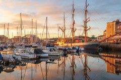 Golden Dawn (Rich Walker75) Tags: plymouth plymouthbarbican devon southwest ship ships boat boats harbour harbor landscape landscapes landscapephotography sunrise dawn sky cloud water reflection reflections canon england efs1585mmisusm eos eos80d