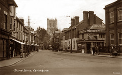 Church Street, Christchurch (footstepsphotos) Tags: christchurch hampshire church street shop store clement people road old vintage postcard past historic