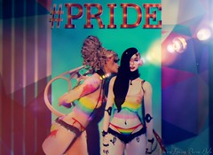 Pride Together (Vinore Raven-Owle) Tags: vinore raven owle maitreya catwa catya lilly vtech blueberry bdr nomatch wasabipills aii plastik zenith evermore sweetthing ckelite siblings sister pride gay pansexual love rainbow wet bikini shorts horns devil demon demons
