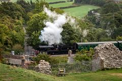 Steaming out of Corfe Castle (Bob Radlinski) Tags: corfecastle dorset england europe greatbritain uk travel swanagerailway em1d1174editpsd