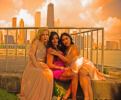 Ashley, Rebin and Hilarymae (tacosnachosburritos) Tags: chicago windy city lake michigan multicultural gowns dresses close skyscrapers skyline clouds closeness sexy model beautiful pretty gorgeous woman girl lady chick midwest hot models girls ladies chicks women blond brunette