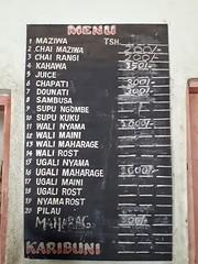 Simple Tanzanian menu.