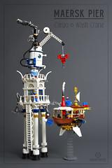 "Maersk Pier Crane & Ship Wash (Markus ""madstopper78"" Ronge) Tags: legosteampunk steampunklego toyphotography toyphoto legophotography legofan fullsteamlego netbrix airship steampunk legopotsdam lego afol moc"