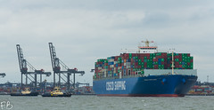 Cosco England (frisiabonn) Tags: vehicle ship water england uk britain marine vessel river sea shore waterfront maritime boat outdoor felixstowe shotley harwich orwell stour cosco large container carrier cargo port harbour docks tug tugboat svitzer deben sky