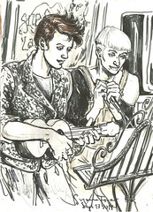 Rah Hell and Roberta at Uke Boogie Sept 13 2018 by Suzanne Forbes (slurkflickr) Tags: suzanneforbesart suzanneforbesartist berlinart suzanneforbes2018 livedrawing drawinginberlin livesketching urbansketching urbansketcher figuredrawing lifedrawing berlinlife drawnfromlife documentarydrawing contemporaryfigurativeart portraitdrawing penandinkdrawing gayberlin queerberlin gaylove queerlove gaypride queerpride queerhistory